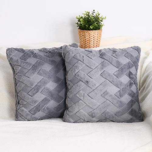 baibu Grey Fluffy Cushion Covers 45 x 45cm Set of 2, Soft Faux Fur Embroidery Winter Throw Pillow Covers for Home Decor 18 x 18