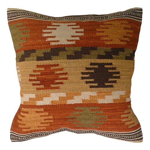 Fair Trade Kilim Cushion Covers Handmade on Handlooms using 80/20 wool/cotton and Natural Dyes Maniyar (45 x 45)