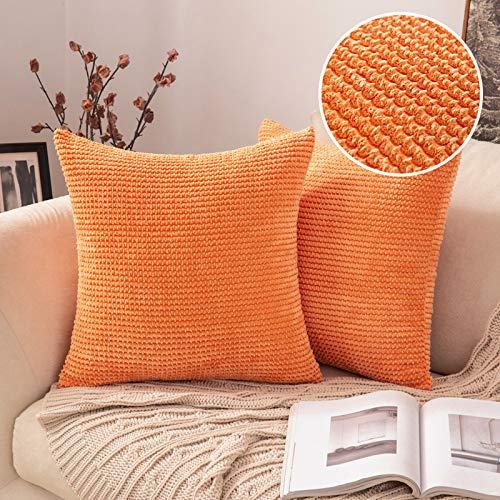 MIULEE Pack of 2 Corduroy Cushion Covers Decorative Throw Pillow Cover Square Pillowcase Home for Safa Bedroom Living Room 18x18 Inch 45x45 cm Orange