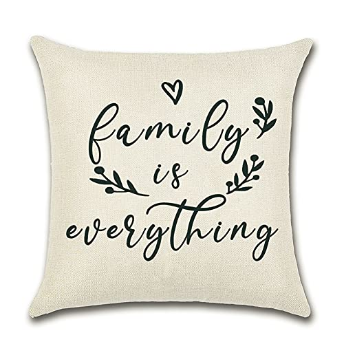 Artscope Farmhouse Cushion Covers with Quotes -Family Is Everything -45 x 45 cm Decorative Throw Pillow Covers for Housewarming Gifts Family Room Décor