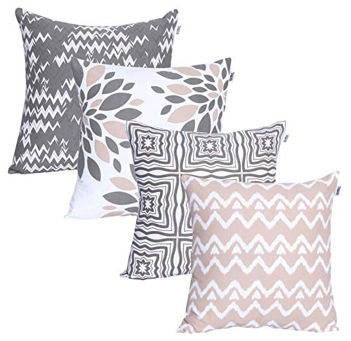Amazon Brand - Umi Luxurious Printed Decorative Square 4pc Pack Cotton Cushion Pillow Covers for Home, Sofa, Couch, Chair 45x45 cm in - Grey-Beige color