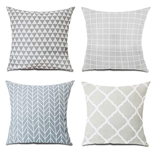 MeGaLuv Set of 4 Geometric Sofa Cushion Cover,Cotton Linen Cushion Cover,45cm x 45cm Decorative Throw Square Pillow Cases for Livingroom Bedroom with Invisible Zipper 18x18Inch