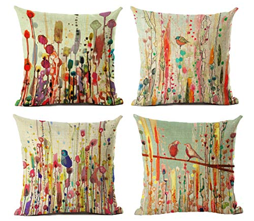 LYNKO Cushion Covers 45 x 45cm,Set of 4 Linen Pillow Covers Decorations Flower Bird of Life for Sofa, Outdoor Garden, Bed, Couch, Car(18'x18')