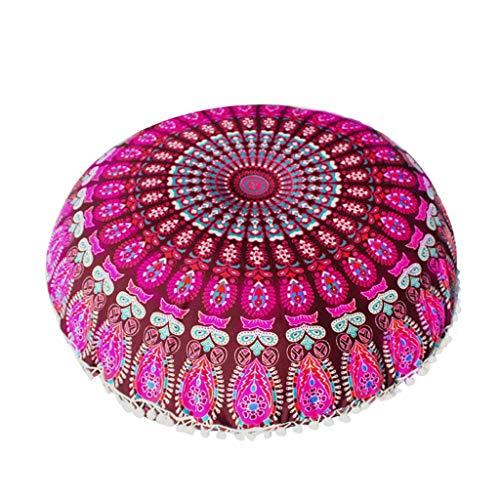 JOYKK 80cm Round Indian Bohemian Floor Pillow Cushion Cover Retro Case - 06# Deep rose red