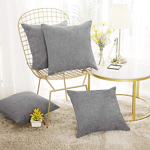 Deconovo Set of 4 Grey Cushion Covers Faux Linen Throw Pillow Cases Chenille Cushion Covers Small Cushion Covers for Kids with Invisible Zippers Light Grey 40x40cm