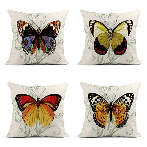 Tarolo Set of 4 Butterfly Theme Butterflies Butterfly Scroll Decorative Linen Throw Pillow Covers Case Cushion 16' X 16' Square Pillowcases One Sided