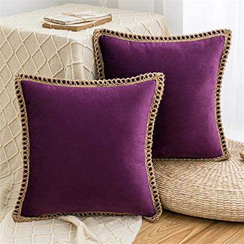 HAUSEIN 2 Pack Velvet Throw Pillow Covers Decorative Pillowcase, Trimmed Edge Square Soft Solid Cushion Case, for Couch Sofa Bedroom Car 45x45 cm, Dark Purple