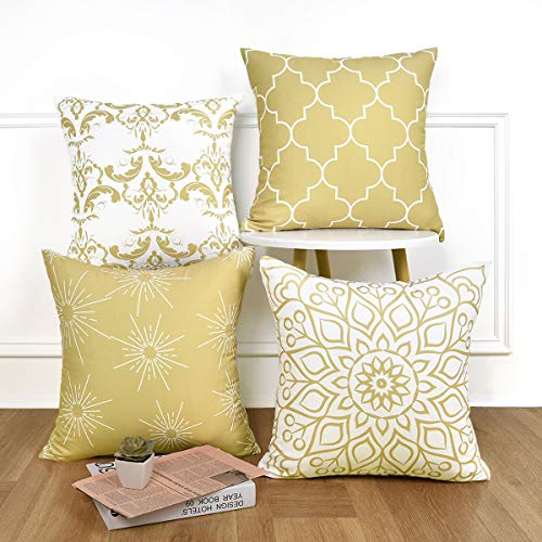 Alishomtll Geometric Cushion Covers Set of 4 Pillowcases 18x18 Inches Soft Throw Pillow Covers 45cm x 45cm for Sofa Bedroom