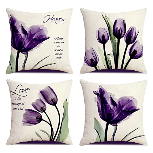 KUNQIAN Cushion Covers Purple Flower Throw Pillow Cover 18x18inch Set Of 4 Home Decorative For Living Room Sofa Office Durable Thick Linen Square(45x45cm)