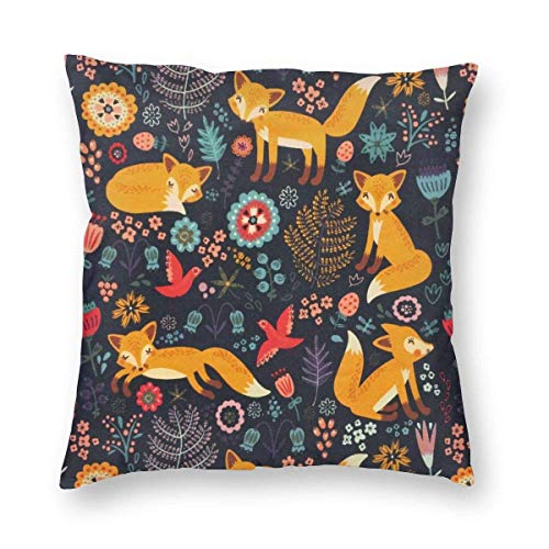 N\A Throw Pillow Cover Flowers and Fox Decorative Pillowcases Cushion Cover for Sofa Bed Car