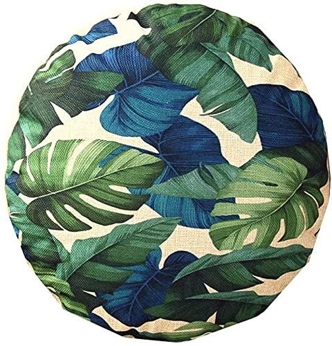 Round Cushion Covers Modern Round Tropical Plants Cotton Linen Pillow Case 18'x18' Sofa Seat Car Cushion Cover Home Decor
