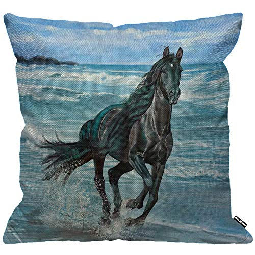 HGOD DESIGNS Cushion Cover Horse Beautiful Black Horses Running On The Beach Throw Pillow Cover Home Decorative for Men/Women/Boys/Girls Living Room Bedroom Sofa Chair 18X18 Inch Pillowcase