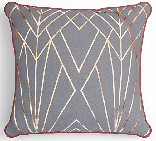 Moroccanity Copper Rose Gold pillow cushion cover metallic light grey vintage look Art Deco