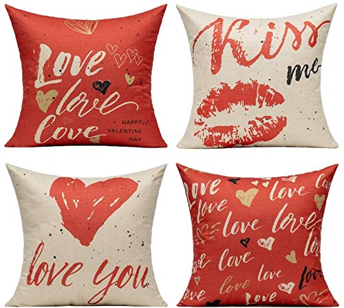 All Smiles Love Heart Red Cushion Covers Lip Kiss Pillow Cover Pillowcase 16 x 16 Set of 4 Romantic Quote Valentine's Day for Home Décor Lover Cotton Linen