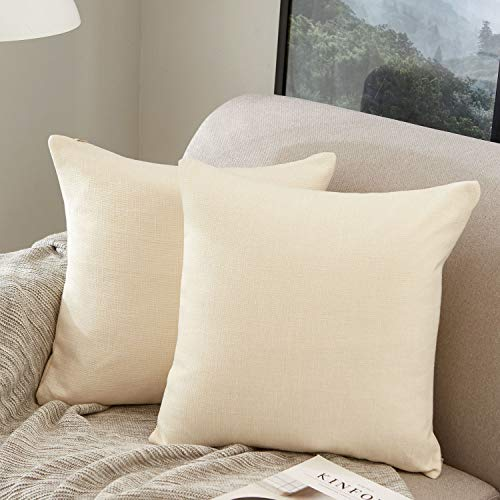 MERNETTE Pack of 2, Linen Decorative Square Throw Pillow Cover Cushion Covers Pillowcase, Home Decor Decorations For Sofa Couch Bed Chair 18x18 Inch/45x45 cm (Cream)