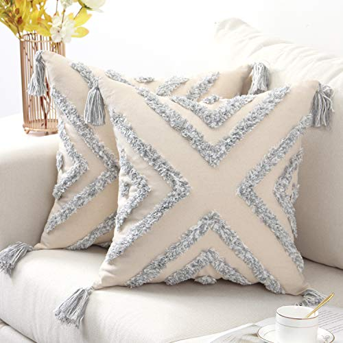 SUNBEAUTY Boho Cushion Covers 18x18 Grey Decorative Square Tufted Cushion Cover Cotton Canvas Throw Pillowcases 45x45 Geometric Embroidery Pack of 2 for Sofa Couch Bed Living Room Decorations