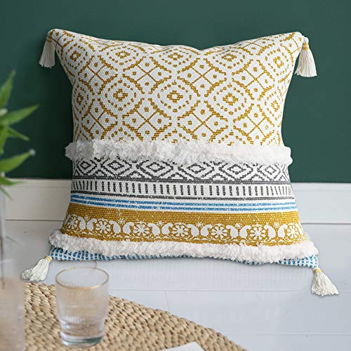 Dremisland Morocco Tufted Boho Pillow Covers - Square Throw Pillow Cases Woven Pillowcase Soft Cushion Cover for Sofa Couch Bedroom Car Living Room with Invisible Zipper 45x45cm(Yellow)