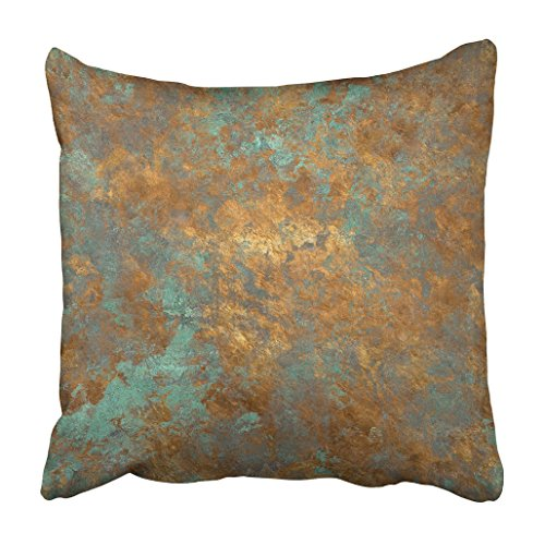 Emvency Throw Pillow Cover Polyester 20x20 Inch Decorative Orange Copper Vintage Bronze Rust Metal Patina Wall Old Antique Luxury Deco Cushion Pillowcase Print Sofa Home