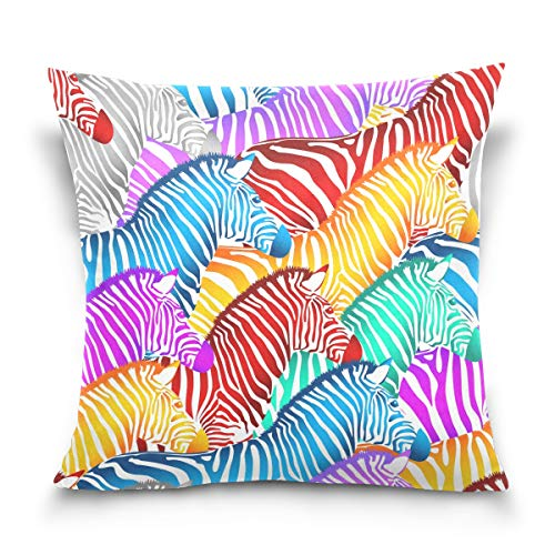 Linomo Throw Pillow Cover 16x16 inch, Colorful Zebra Print Decorative Pillow Cases Cushion Cover for Couch Sofa Bed Home