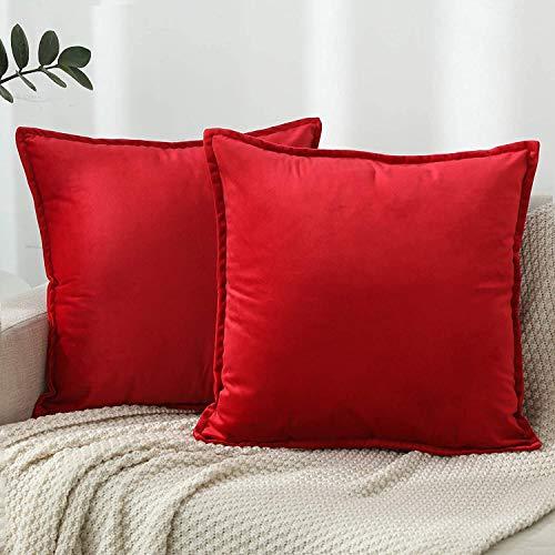 ZPXTI Velvet Cushion Cover, Sofa Pillow Case 2 Pack Red Decorative Pillow Case (Red, 40x40cm)