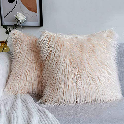 Ewolee Faux Fur Pillow Cover, 2 Pcs Soft Fluffy Decorative Pillow Cushion Cover Case for Home Sofa Bed Car 18 x 18in (Pink)