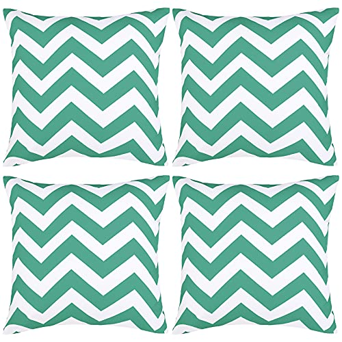 ANECO Pack of 4 Waterproof Pillow Covers Outdoor Throw Pillowcases Garden Chair Cushion Case for Home, Garden, Patio Decorations, 18 x 18 Inches, Lake Green