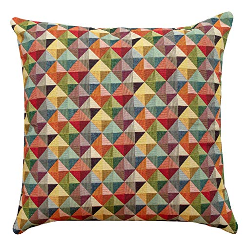 Linen Loft Extra Large Geometric Tapestry Double Sided Cushion Cover. 23'x23' Floor Pillow Case. Multicoloured Red Blue Green Yellow Triangular Harlequin Pattern.