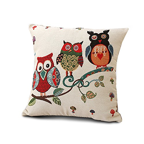 Owl Linen Square Pillowcase Washable Tapestry Jacquard Throw Pillow Case Cushion Cover Three