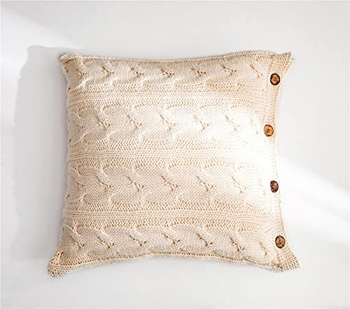 RAILONCH 1 x Knitted Cushion Cover, Decorative Cushion Sofa Cushion with Button, Decor Cushion Cover for Car, Living Room, Bedroom, 45 x 45 cm (Beige)