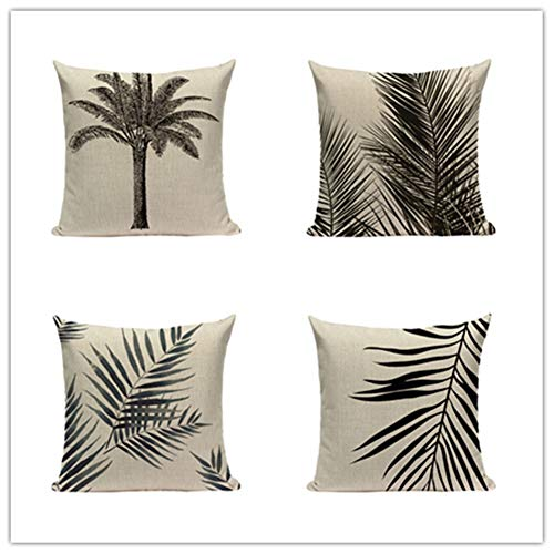 HYOOPL Cushion Covers 35x35cm 14x14 Inch Square Throw Pillow Case set of 4,Linen Cotton with Invisible Zipper Decorative Cushion Covers for Sofa Bedroom, Black and Blue Leaves A3159