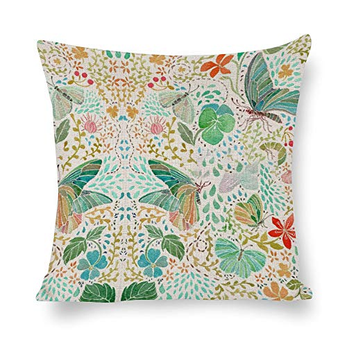 Promini White Cotton Linen Pillowcase Watercolor Butterfly color7 40x40cm Throw Pillow Cases Sofa Couch Chair Decorative Cushion Covers Insert Not Included
