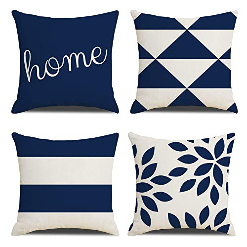 Throw Pillow Cushion Covers 18X18inch 45X45cm Set of 4 Farmhouse Home Decor Square Geometric Abstract Accent Pillow Covers Decorative Cushion Modern Outdoor Indoor Pillow Case for Couch Sofa Chair
