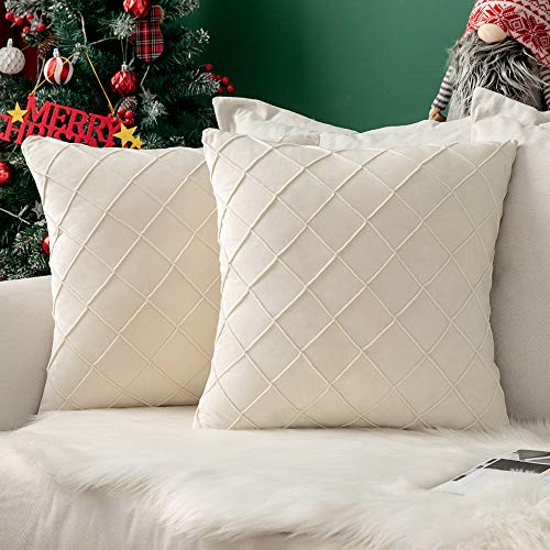 MIULEE Velvet Cushion Covers Home Decoration with Square Pattern Throw Pillow Covers Super Soft Modern Smooth Washable for Living Room Bedroom Sofa 2 Pieces Cream 40 x 40 cm 16 x 16 Inch