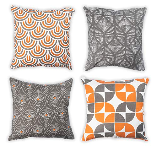 """Penguin Home 100% Cotton Tessellated Double Sided Square Cushion Covers with Invisible Zipper 45cm x 45cm (18' x 18"""") (Set of 4 - Grey and Orange Colours), 45x45 Cm"""