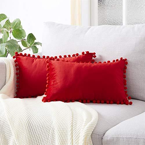 Topfinel Red Oblong Cushion Covers 12x20 Inch Velvet Soft Decorative Throw Pillowcase for Office Sofa Bedroom 30cmx50cm,Pack of 2