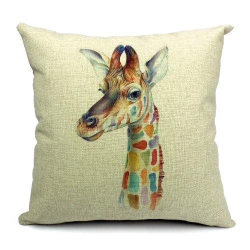 Wildlife Animals Giraffe Printed Linen Cushion Cover