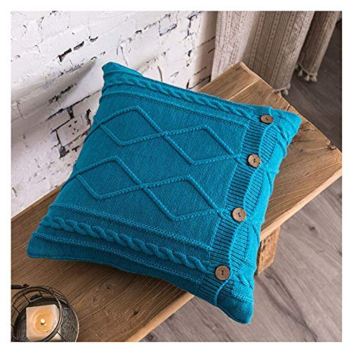 ZTMN Chunky Cable Knit Sweater Cushion Cover with Buttons 45x45cm Knitted Throw Pillow Case home Decorative Pillow Covers for Sofa Bed Dark Blue 45 * 45cm(No Pillow core)