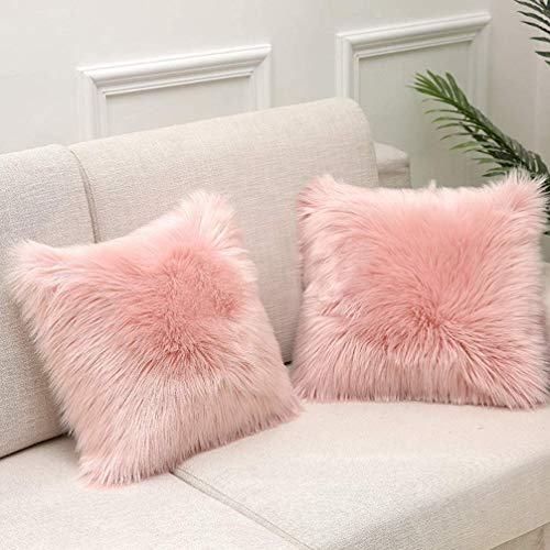 Monthly Faux Fur Throw Pillow Cover Fluffy Soft Decorative Square Pillow covers Plush Pillow Case Faux Fur Cushion Covers - For Livingroom Sofa Bedroom Car Seat Tent etc.Set of 2 (Pink, 45 x 45)