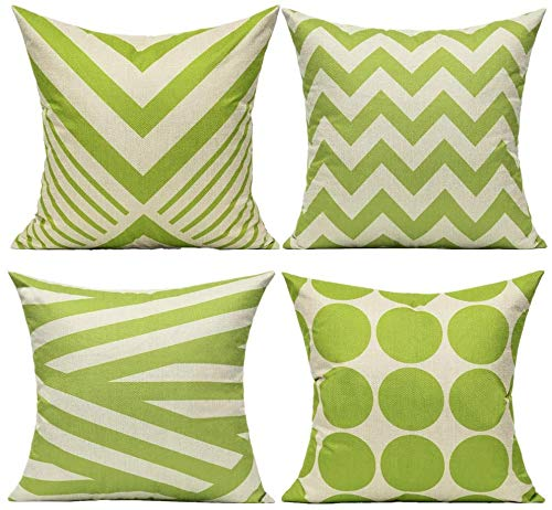 Outdoor Green Cushion Covers 18 x 18 Set of 4 Decorative Throw Pillow Covers Cases Home Decor for Couch Sofa Living Room Geometric Decorations