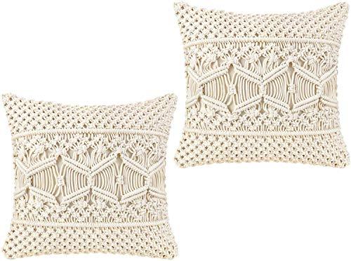OMG-Deal 2 Pcs Beautiful Macrame Cushion Cover Wedding Decor Throw Pillow Cover 18 x 18 inches