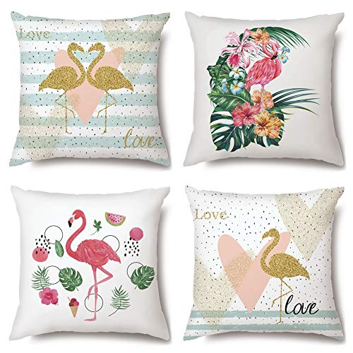 Artscope High Grade Polyester Microfiber Decorative Cushion Covers 18 x 18 Inch Squar Pillow Covers Pillowcases for Sofa Car 45 x 45 cm, 4 Pack (Flamingo B)