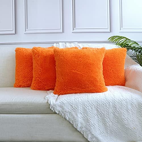 Sea Soft Lion Velvet Throw Pillow Case Cushion Cover Fashion Home Decorative Pillowcase (4-pack) (Orange)