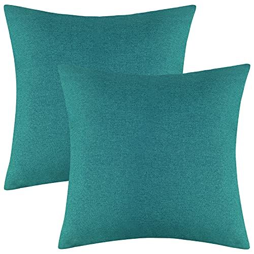 Ruisita 2 Pack 18 x 18 Inches Waterproof Pillow Covers Square Garden Cushion Case Decorative Outdoor Throw Pillow Covers for Home Garden Patio (Teal)
