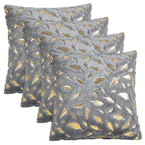 Gonove 4 Pack - [Just Covers] 45×45cm Pillow Case Feather Series Soft Plush Faux Fur Square Throw Pillow Covers Decorative Cushion Covers Case for Sofa,Bed (Grey-Feather)