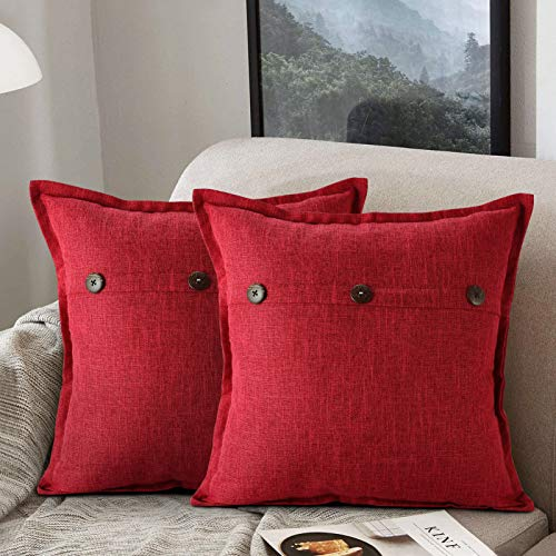 ETOLISHOP Cushion Covers red pillows for living room 45cm x 45cm Decorative Throw Pillowcases red cushions for sofa Cushions Cover 18x18 Pillows Pack of 2