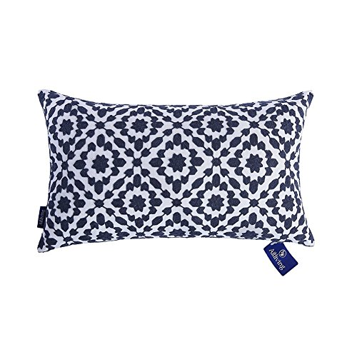 Aitliving Bolster Pillow Cushion Cover for Sofa, Cotton Canvas 1pc 30x50cm Contemporary Mina Dark Blue Patterned Trellis Slate Blue Geometric Series Embroidery Decorative Pillow Case 12'x20'