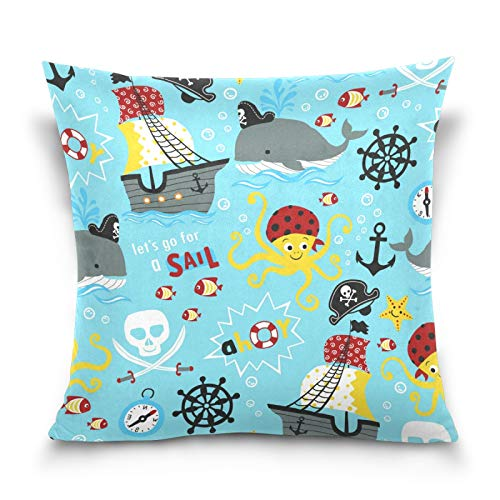 PUXUQU Throw Pillow Cover 18x18 inches Pirates Theme Cartoon Octopus Fish Decorative Square Throw Pillow Case Cushion Covers for Couch Sofa Bedroom Car
