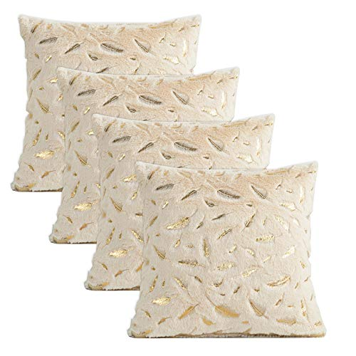 Gonove 4 Pack - [Just Covers] 45×45cm Pillow Case Feather Series Soft Plush Faux Fur Square Throw Pillow Covers Decorative Cushion Covers Case for Sofa,Bed (Light Yellow-Feather)