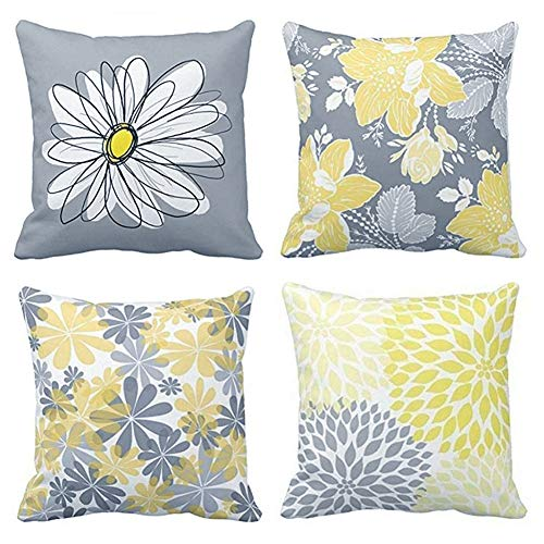 BCKAKQA Decorative Cushion Covers 45cm x 45cm Grey and Yellow Flowers Throw Pillow Cover Soft Polyester Square Throw Pillow Case for Living Room Sofa Couch Bed Pillowcases (18'' x 18'') Set of 4
