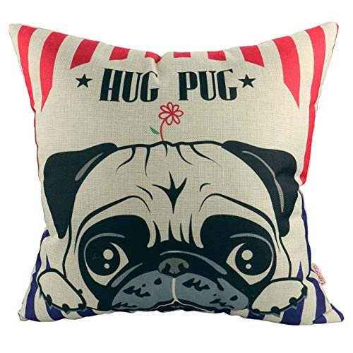 Luxbon Lovely Hug Pug Cushion Covers 18x18 Puppy Sofa Throw Animal Pillowcase 45x45cm Cotton Linen Cushion Case Covers Pug Dog Gifts for Home Decors Kids Room